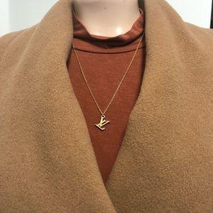 Louis Vuitton Brass LV Initials Charm w/ Necklace